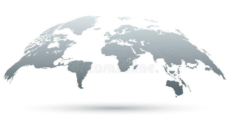 mapa 3D do mundo no cinza ilustração royalty free