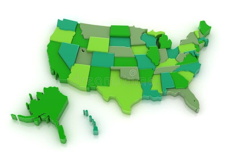 Mapa 3D dos EUA com Alaska e Havaí ilustração do vetor