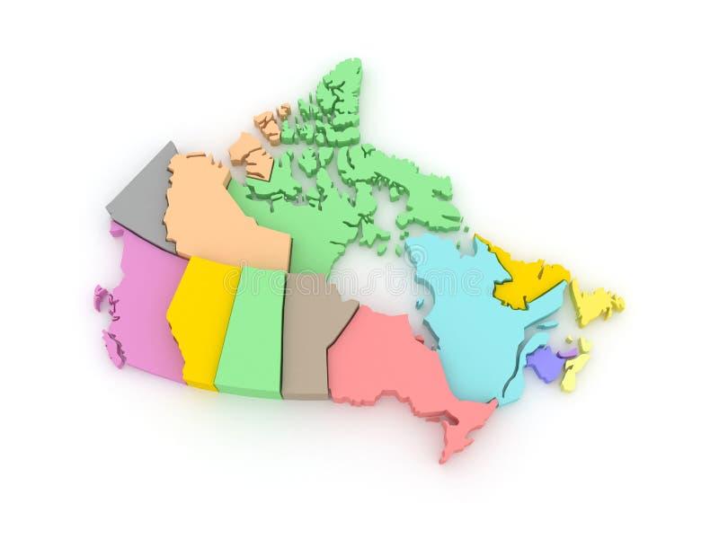 mapa 3d mapa Canada trzy ilustracji