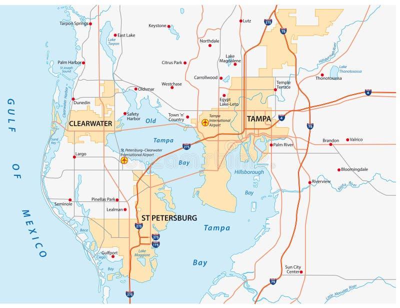 Mapa da área de Tampa Bay ilustração stock