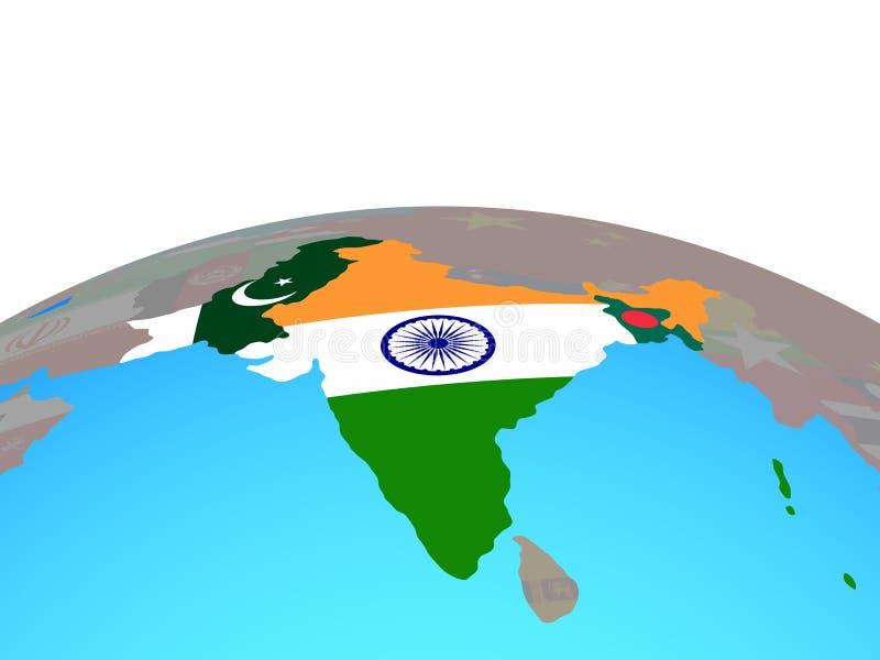 Mapa da Índia britânica com as bandeiras no globo ilustração royalty free