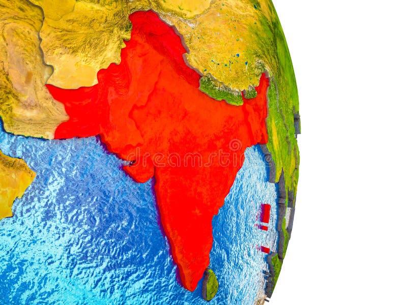 Mapa da Índia britânica na terra 3D ilustração stock