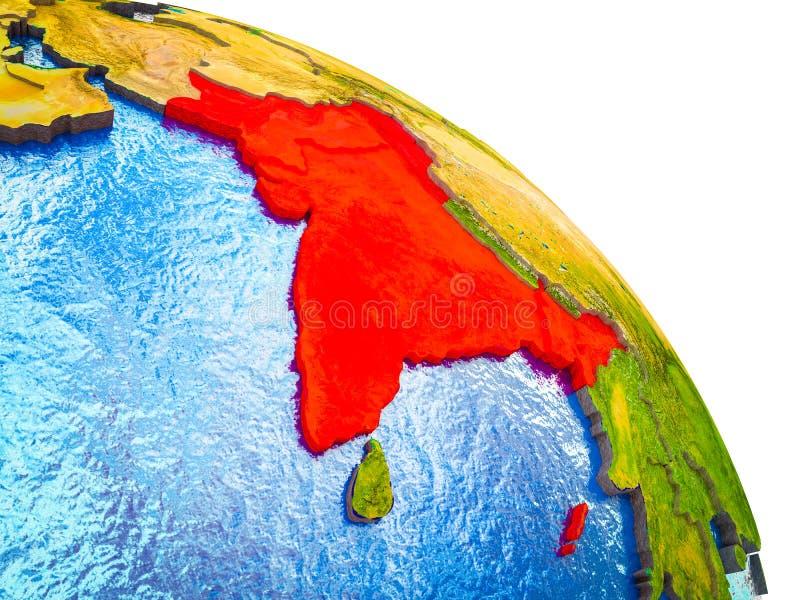 Mapa da Índia britânica na terra 3D ilustração do vetor