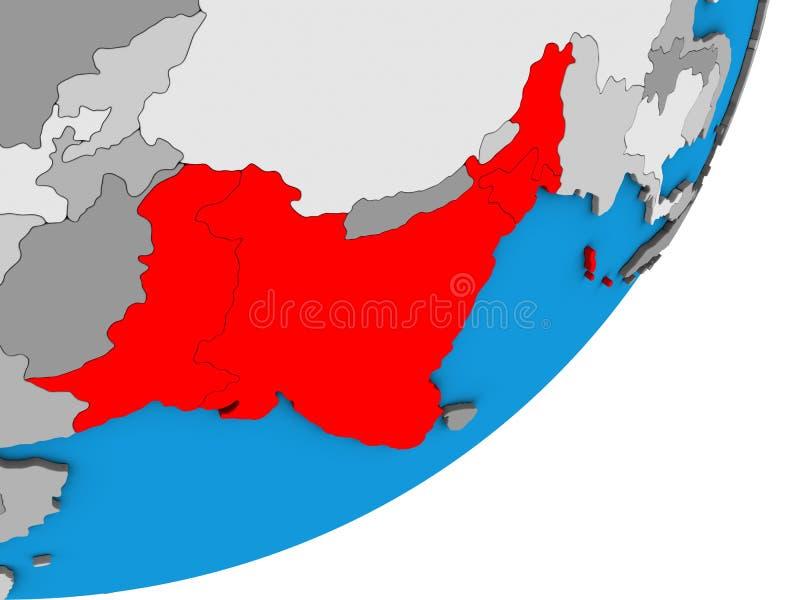 Mapa da Índia britânica no globo 3D ilustração do vetor