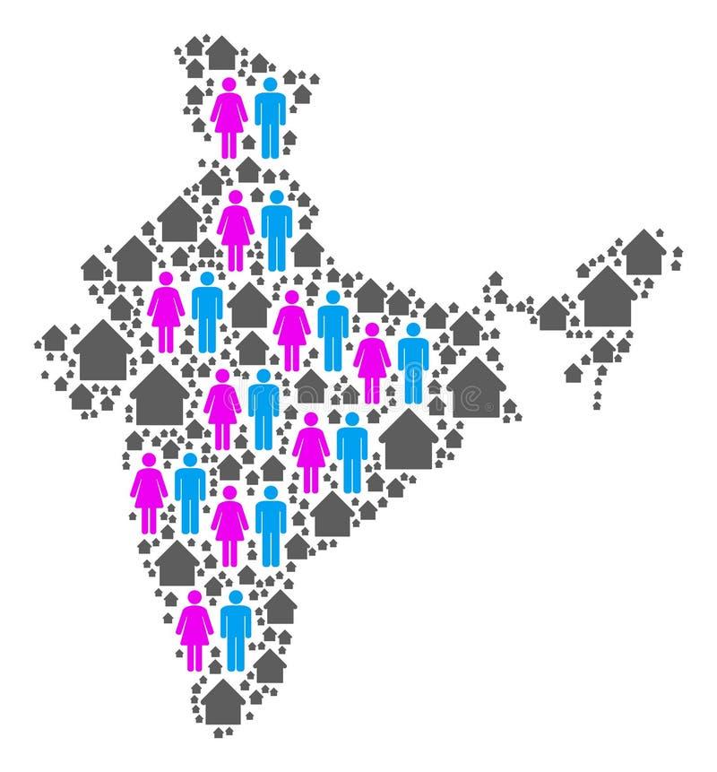 Mapa da Índia do agregado familiar ilustração do vetor