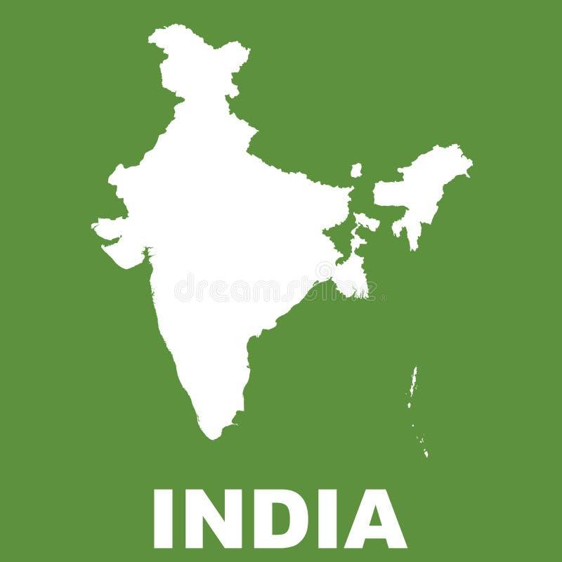 Mapa da Índia no fundo verde Vetor liso ilustração royalty free