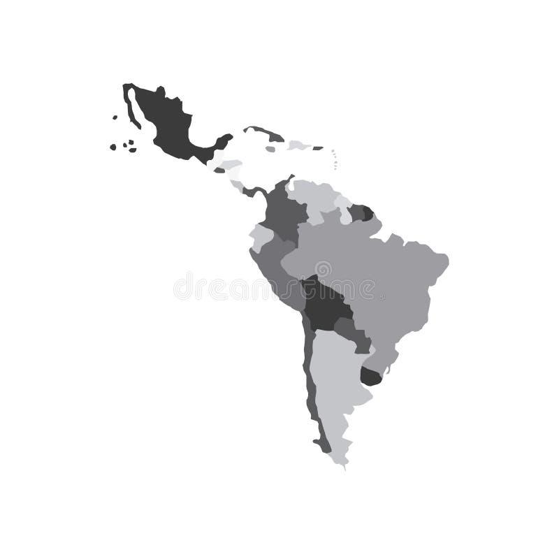 Mapa da América Latina ilustração stock