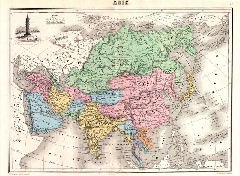 Mapa da antiguidade 1870 de Ásia ilustração royalty free
