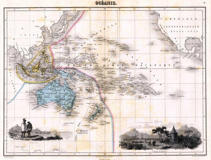 Mapa da antiguidade 1870 de Austalia ilustração stock