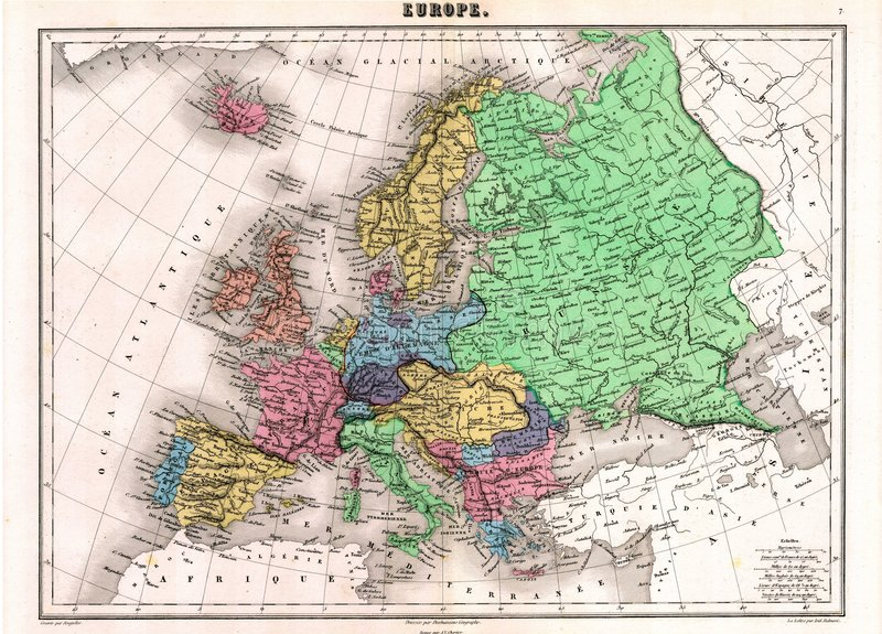 Mapa da antiguidade 1870 de Europa ilustração do vetor