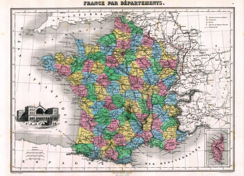 Mapa da antiguidade 1870 de France ilustração royalty free