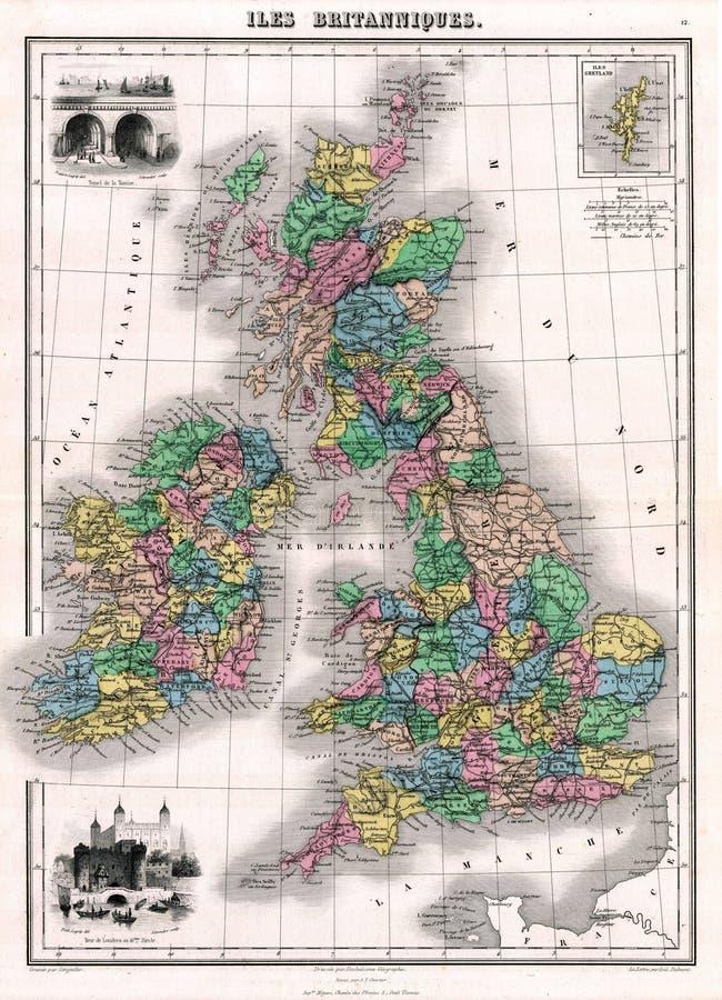 Mapa da antiguidade 1870 de Grâ Bretanha e de Ireland ilustração royalty free