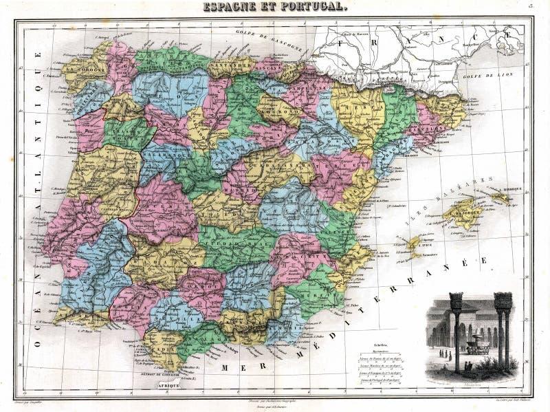 Mapa da antiguidade 1870 de Spain e de Portugal ilustração royalty free