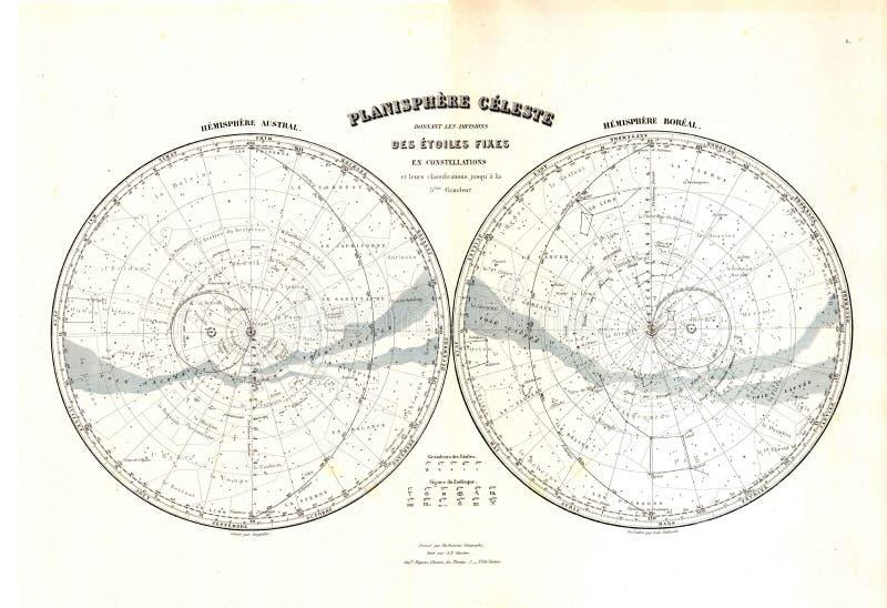 Mapa da antiguidade 1870 do zodíaco das estrelas ilustração stock