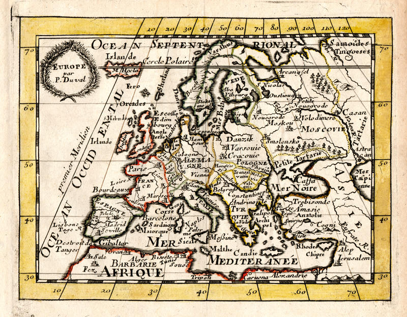 Mapa 1663 da antiguidade de Duval de Europa ilustração do vetor