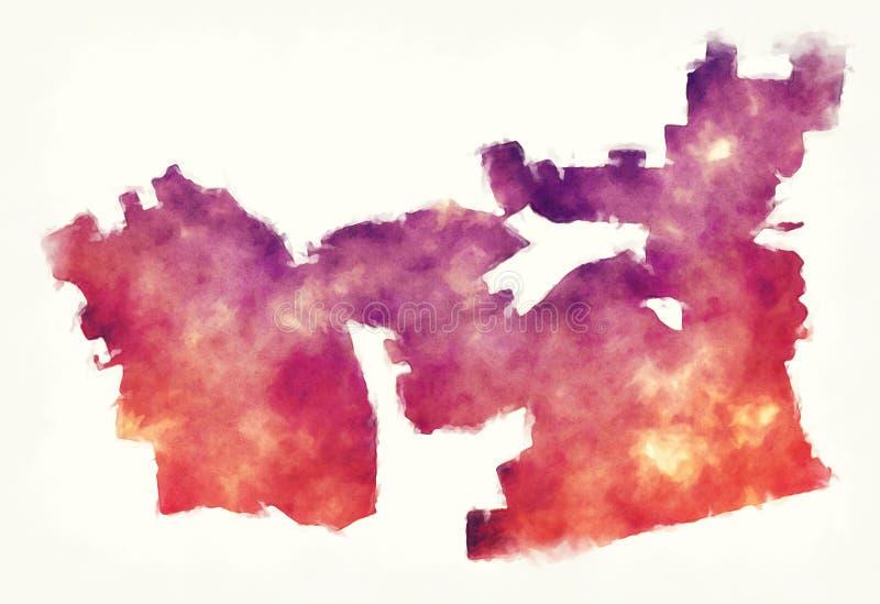 Mapa da aquarela da cidade de Chula Vista Califórnia na frente de um b branco ilustração stock