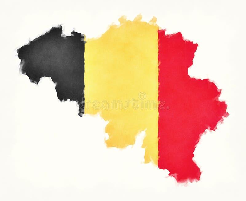 Mapa da aquarela de Bélgica com a bandeira nacional belga na frente da ilustração royalty free