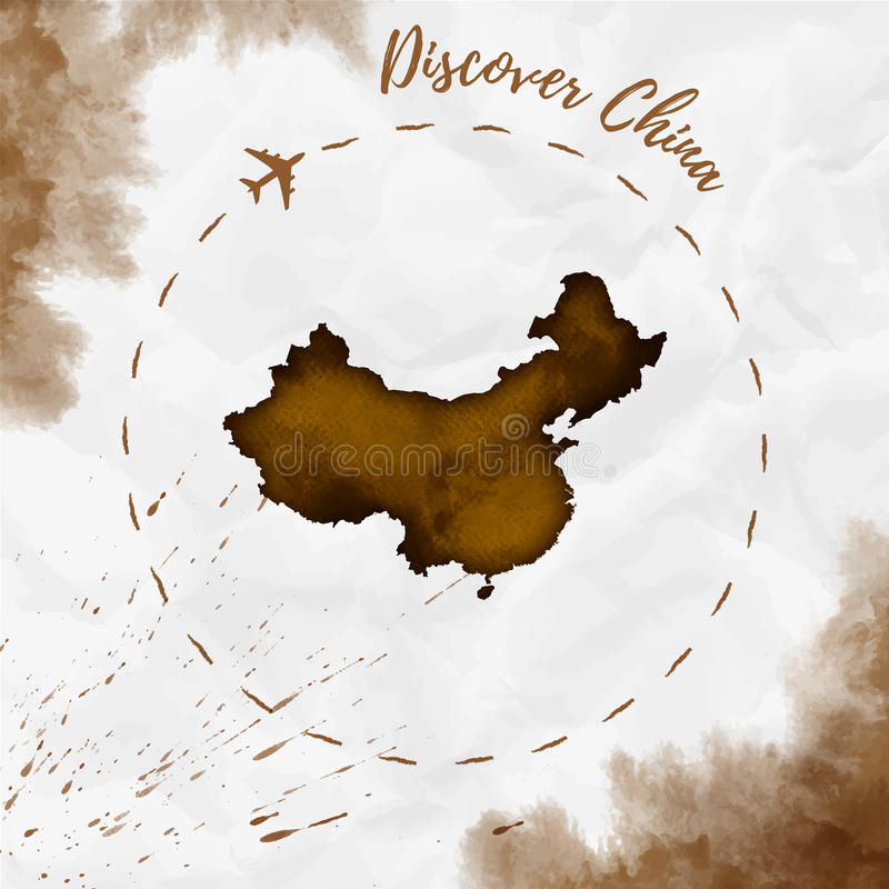 Mapa da aquarela de China em cores do sepia ilustração royalty free