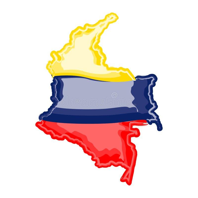 Mapa da aquarela de Colômbia com bandeira ilustração royalty free