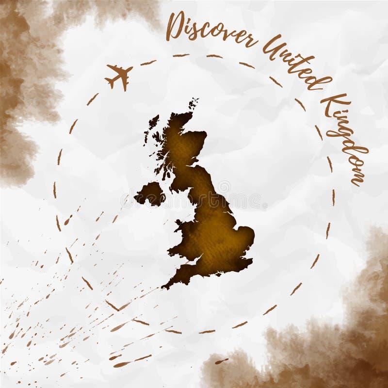 Mapa da aquarela de Reino Unido em cores do sepia ilustração royalty free