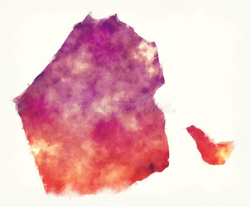 Mapa da aquarela do emirado de Dubai de Emiratos Árabes Unidos ilustração royalty free