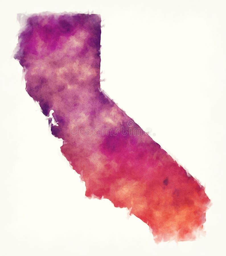 Mapa da aquarela dos EUA do estado de Califórnia na frente de um backgrou branco ilustração royalty free