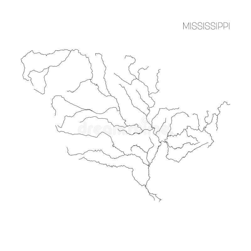 Mapa da bacia de drenagem do rio Mississípi Ilustração fina simples do vetor do esboço ilustração royalty free