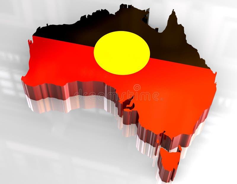 mapa da bandeira 3d de aborígene australiano ilustração do vetor