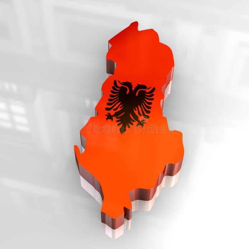 mapa da bandeira 3d de Albânia ilustração royalty free