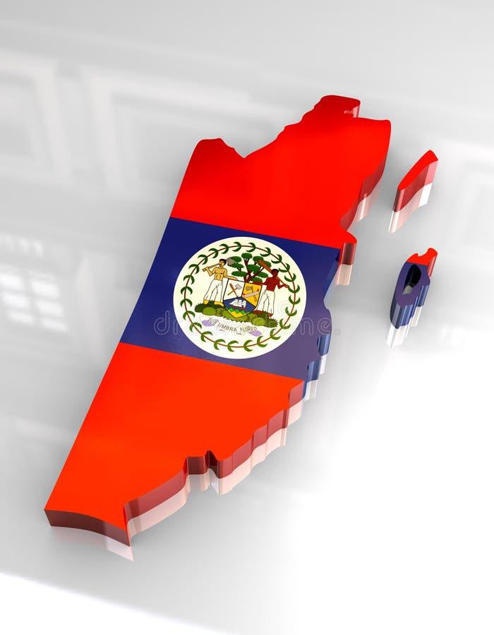 mapa da bandeira 3d de Belize ilustração royalty free