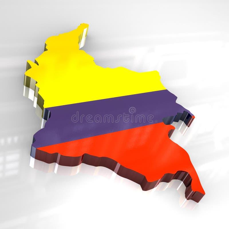 mapa da bandeira 3d de Colômbia ilustração royalty free