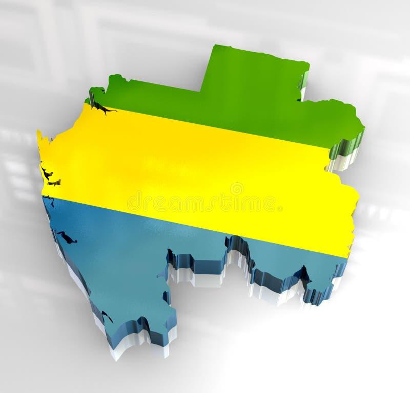 mapa da bandeira 3d de Gabon ilustração stock