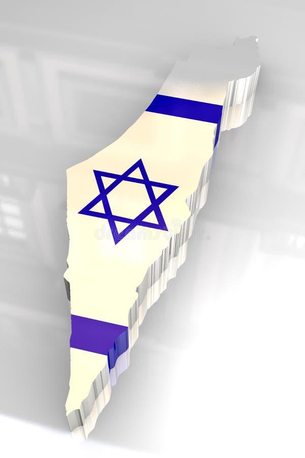 mapa da bandeira 3d de Israel ilustração royalty free