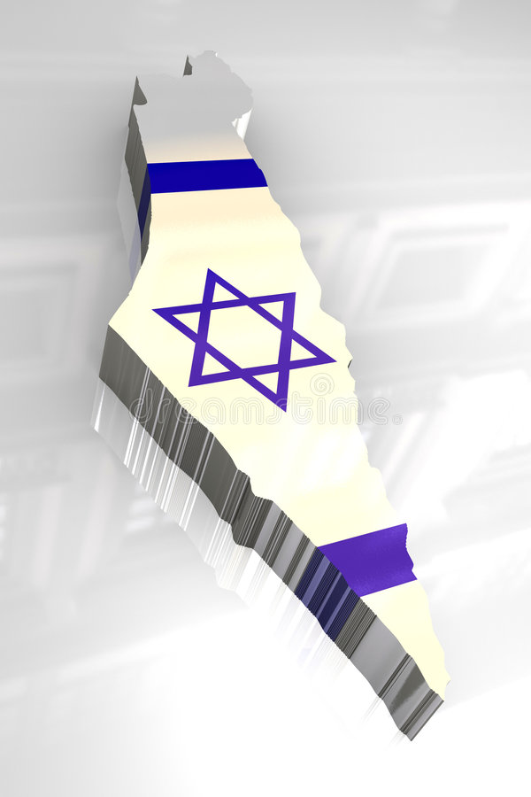 mapa da bandeira 3d de Israel ilustração do vetor