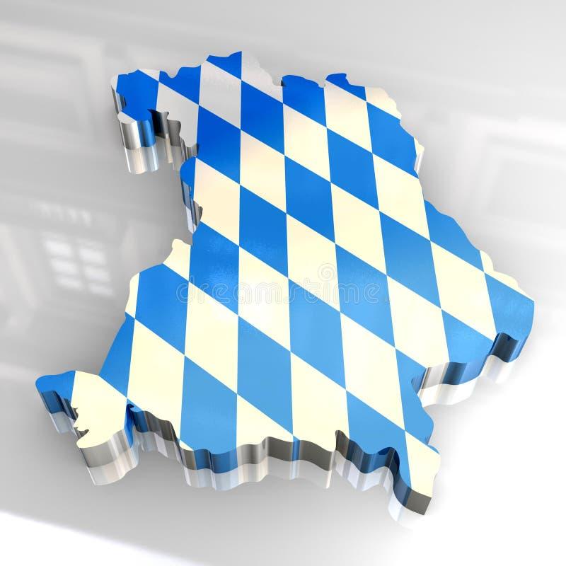 mapa da bandeira 3d do bavaria ilustração do vetor