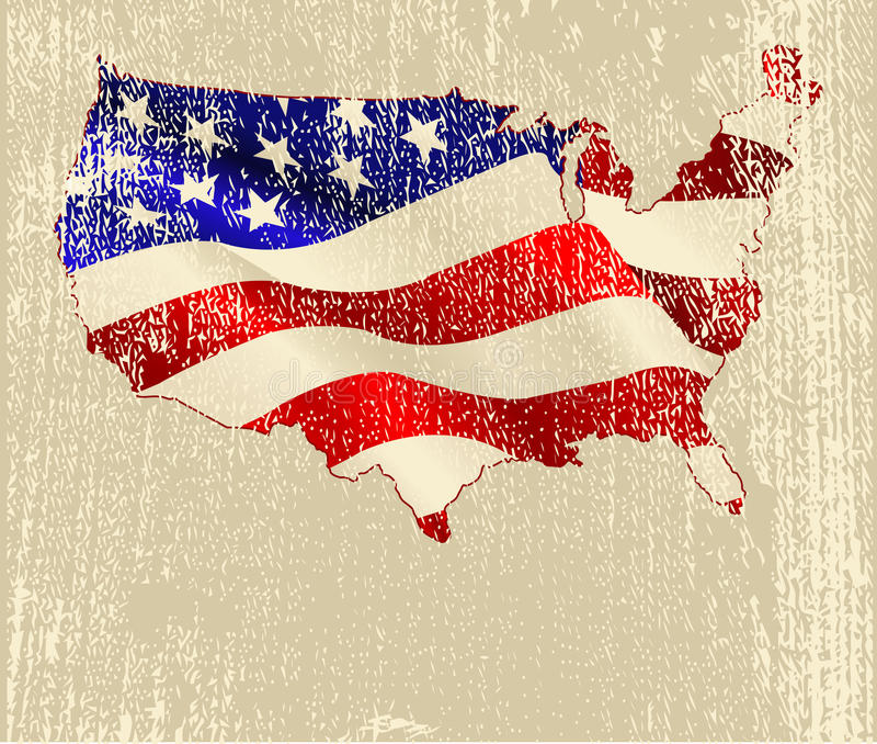 Mapa da bandeira americana ilustração royalty free