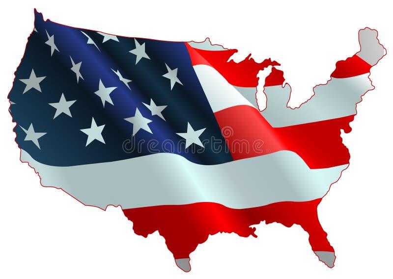 Mapa da bandeira americana ilustração stock
