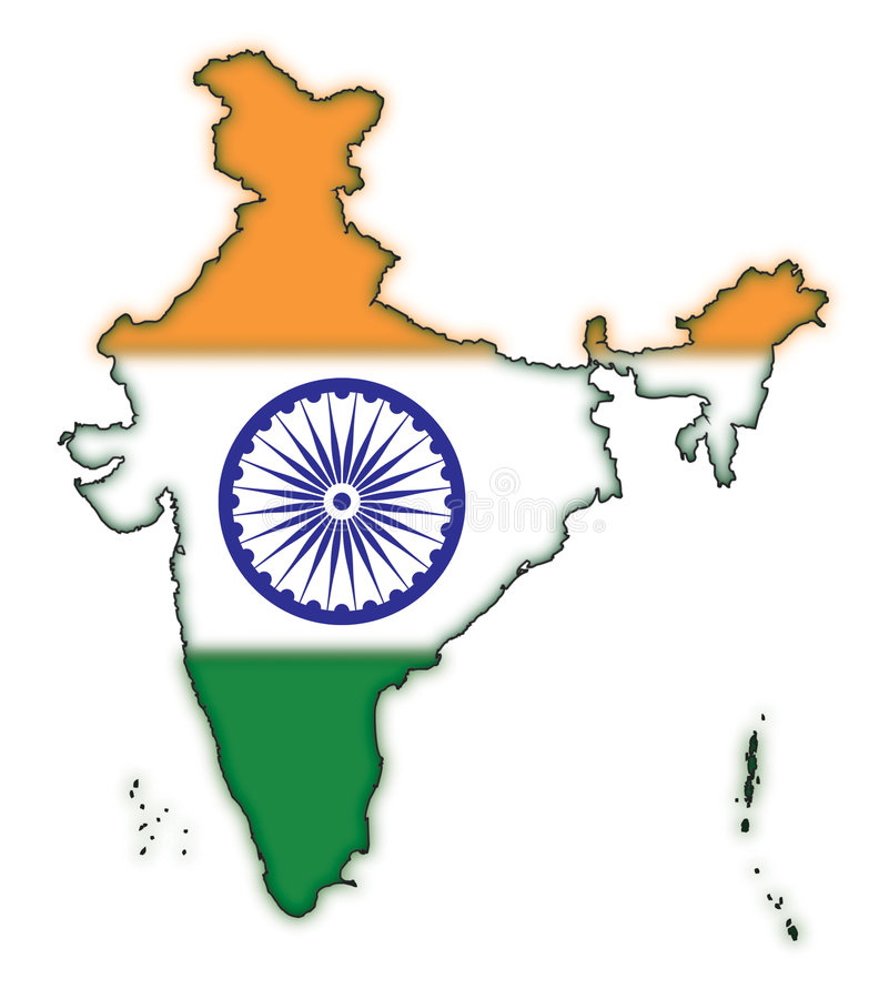 Mapa da bandeira Concept-1 de India ilustração do vetor
