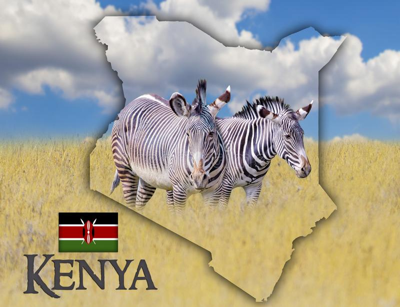 Mapa da bandeira de Kenya em que est foto de stock royalty free