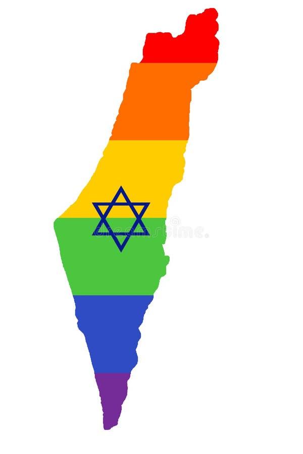 Mapa da bandeira de LGBT de Israel mapa do arco-íris de Israel nas cores da lésbica de LGBT, do homossexual, do bisexual, e da ba ilustração do vetor