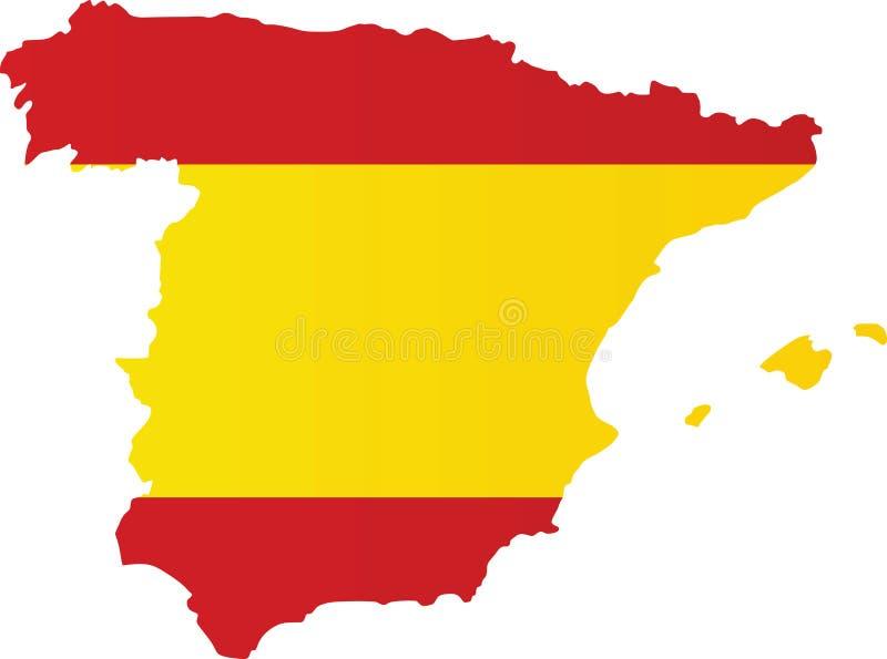mapa da bandeira de spain ilustração stock