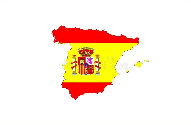 mapa da bandeira de spain ilustração royalty free