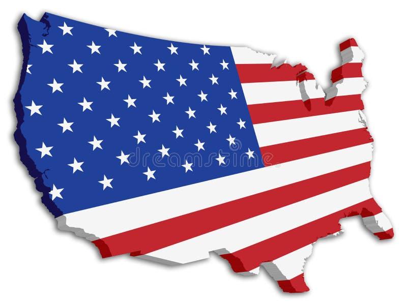 Mapa da bandeira do estado dos EUA 3D da cor ilustração royalty free