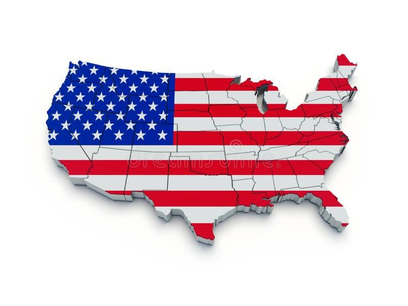 Mapa da bandeira dos EUA. 3D ilustração stock