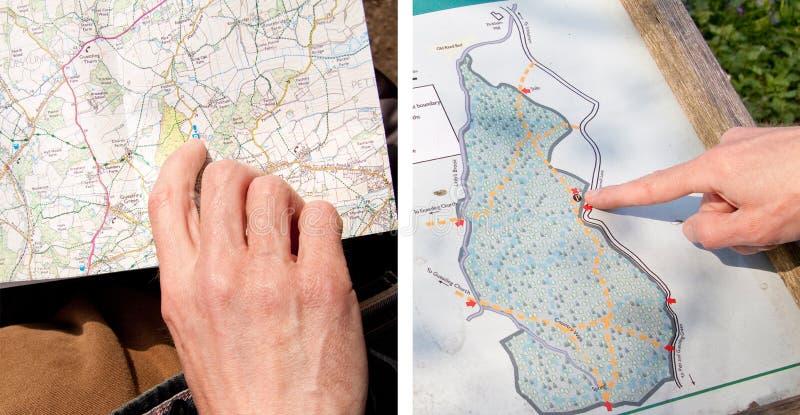 Mapa da caminhada do país fotografia de stock royalty free