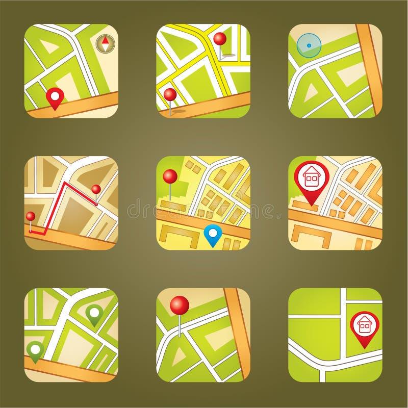 Mapa da cidade com ícones de GPS ilustração stock