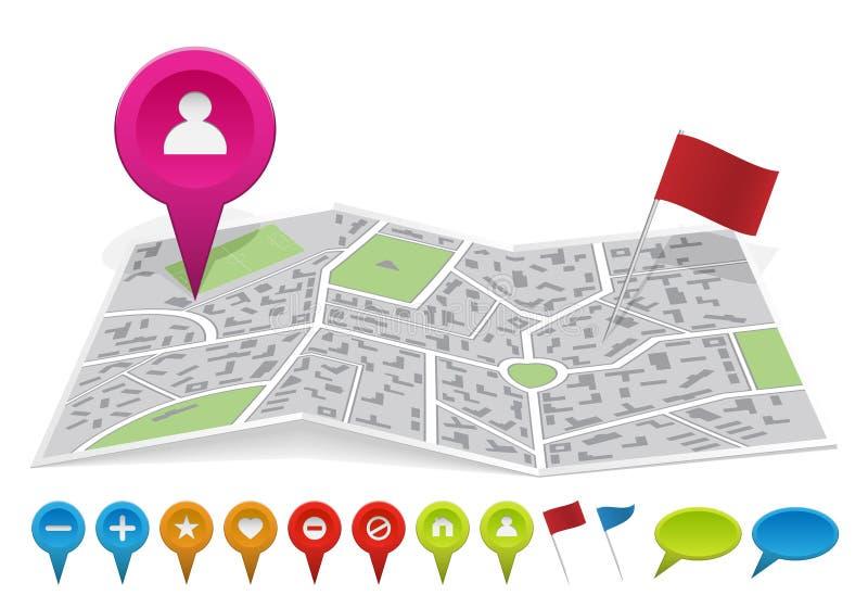 Mapa da cidade com etiquetas ilustração stock