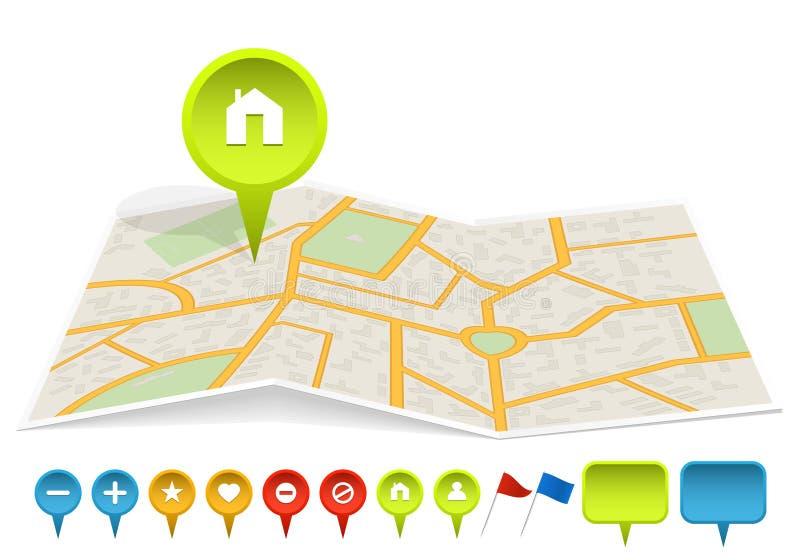 Mapa da cidade com etiquetas ilustração royalty free