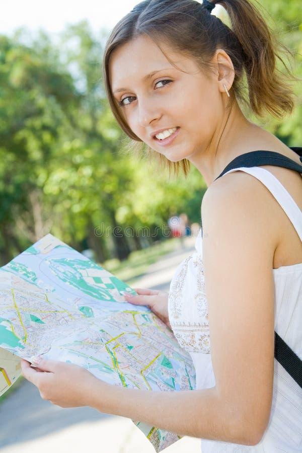 Mapa da cidade da terra arrendada da rapariga fotografia de stock royalty free