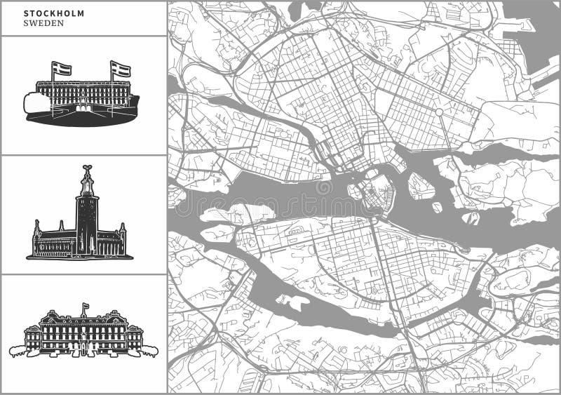 Mapa da cidade de Éstocolmo com ícones desenhados à mão da arquitetura ilustração stock